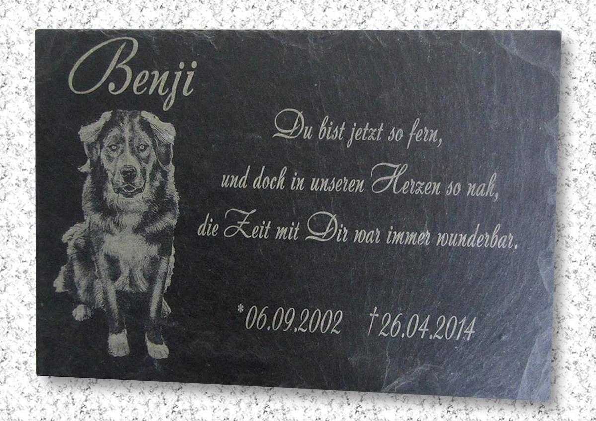 Ihr Individuelles Foto in Naturschiefer Grabstein Gedenktafel Gedenkplatte K2+